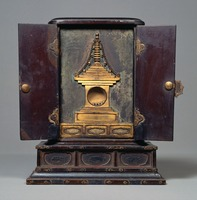 Black-lacquered Cabinet for Bones of Buddha, with Lotus Sutraimage
