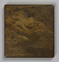 Writing box 'Otokoyama,' lacquered with metal powder, the picture inspired by a poem by Minamoto no Masazaneimage