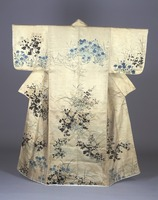 Kosode (kimono with small wrist openings), autumn flower-plants pattern on twill weave fabric image