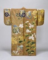 Nuihaku (Nō costume)—design of lily and court-cow-carriage patterns on brown fabricimage