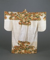 Nuihaku (Nō costume)—design of grass and flower patterns on shoulders and bottom on white fabricimage