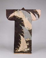 Kosode (Garment with small wrist openings), Design of Mandarin Ducks and Waves on Black Figured Satin)image