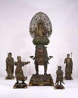 Manjushri (Monju Bosatsu) on a lion, and standing statues of attendants image