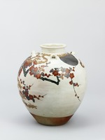 Tea urn decorated with picture of plum trees in the moonlight, in overglaze enamels image