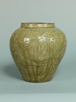 Yellow glazed pot with tree peony arabesque patternimage