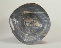 Gray Shino bowl with picture of wagtailimage