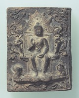 Solitary deity and a Triad (reliefs on unglazed clay tiles) image
