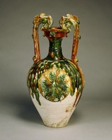 Color-glazed jar with two dragon-shaped handles image