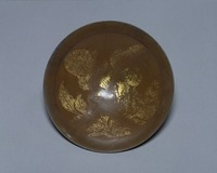 Brown-glazed bowl with tree peony motif in gold, and silver-band along the edge image
