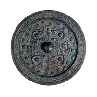 Bronze Mirror Decorated with Four Buddhist Images and Four Animalsimage