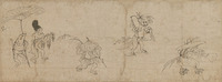 Detached Segment of Caricatures of Frolicking Animals and Peopleimage